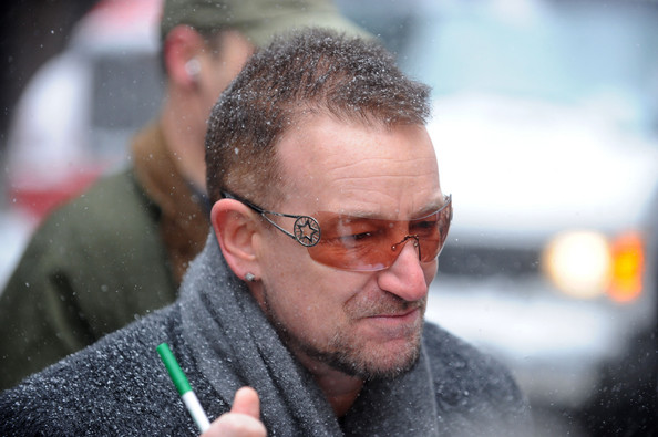Bono emerges from U2's Korean submarine